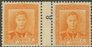 NZ Counter Coil Pair SG 680 1947 2d King George VI Join No. 8 (NCC/310)